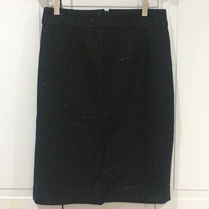 J. Crew Black and Gold Wool Pencil Skirt